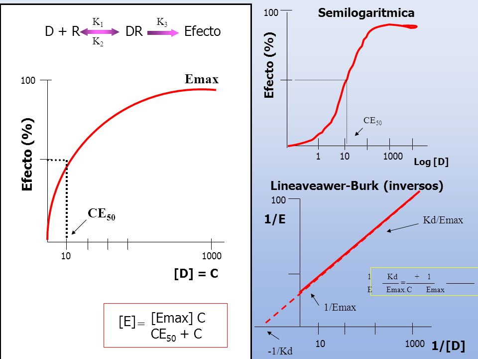 D + R DR Efecto Emax Efecto (%) CE50 [Emax] C [E] CE50 + C =